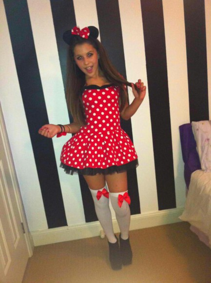 white dress clothes polka dot hipster minnie mouse mickey mouse costume halloween little black dress red dress red and white mini skirt mouse mice minnie socks ears mouse ears hairbow red and white short dress knee high socks