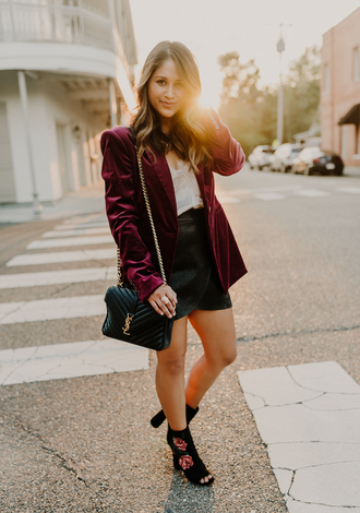 hauteofftherack blogger jacket tank top skirt shoes bag jewels fall outfits blazer velvet jacket ankle boots ysl bag