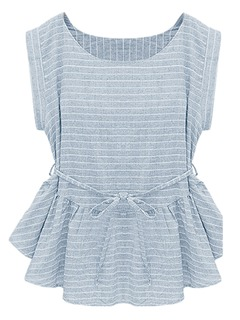 Light Blue Stripe Peplum Blouse - Choies.com