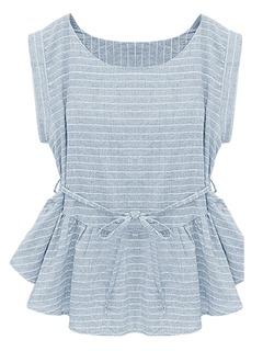 Light Blue Stripe Peplum Blouse - Choies.com