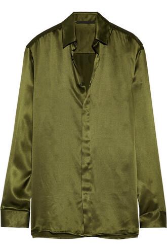 shirt silk green satin army green top