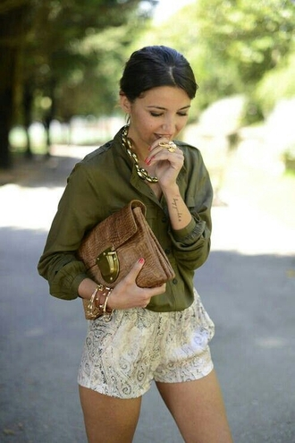 shorts snake print pants snake print blouse jewels bag handbag clutch army green tan fashion outfit summer spring paisley accessories