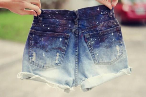 shorts galaxy shorts denim shorts white ombre