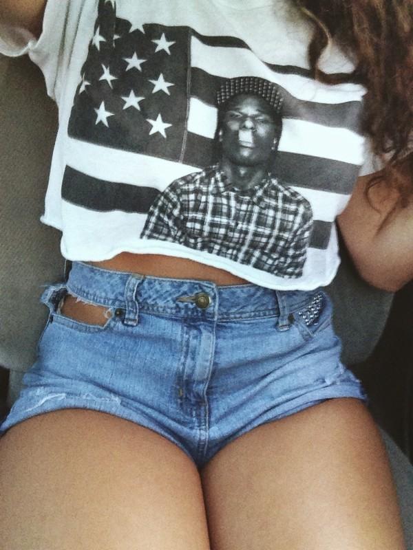 Shirt: crop tops, asap rocky, american flag, crop tops ...