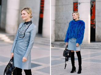 vanessa jackman blogger light blue royal blue long sleeve dress blue dress blue jacket