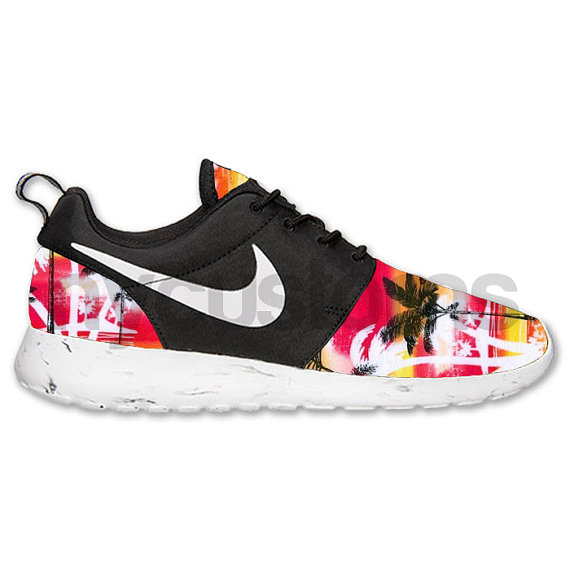 Nike Roshe Run Black White Marble Sunset Palm Tree V2 By