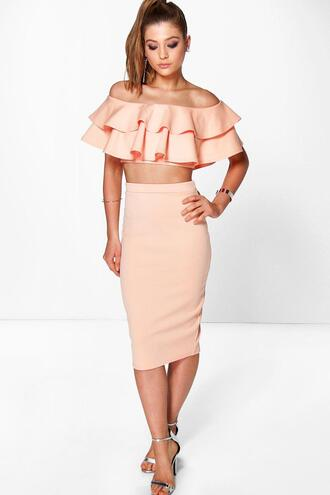 skirt ruffle top ruffle crop boohoo skirt boohoo top boohoo crop boohoo co-ord set midi skirt apricot skirt