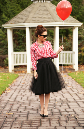 jewels retro shirt sunglasses dress corilynn blogger tulle skirt