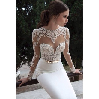 dress floral white cute wedding clothes white dress church marriage dresses wedding dress lace lace dress mermaid wedding dresses