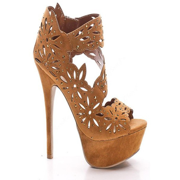 shoes high heels floral high heels cut-out
