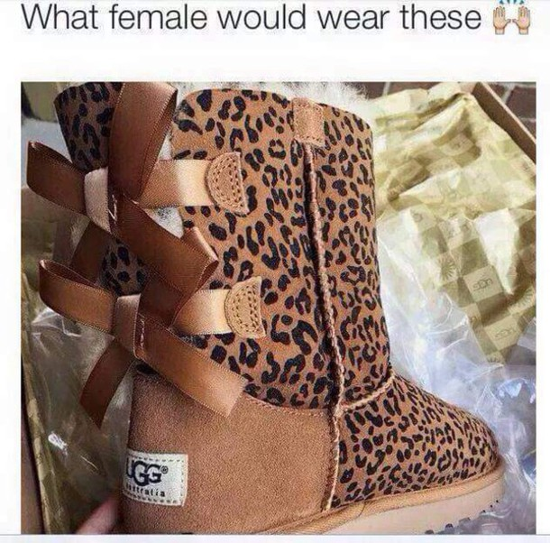 shoes, boots, ugg boots, leopard print, bows, uggs boots bailey bow brown, cheetah print shoes - Wheretoget