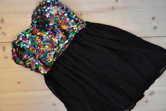 dress black dress glitter dress sequin dress black short dress multicolor sparkling dress sequins rainbow pretty wehearit paillettes colored sparkles colorful party dress