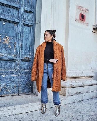 coat brown coat teddy bear coat boots silver boots metallic top black top jeans denim blue jeans