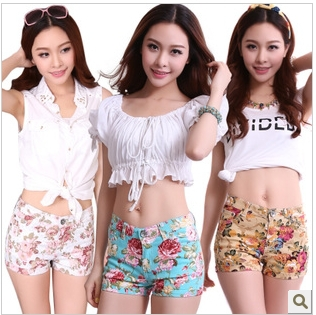 2013 Newest Summer Lady Floral Print Hot Shorts, Turn Up Cotton Short Pants ,Womens' Fashion Short Beach Pants 10 Colors #2063-in Shorts from Apparel & Accessories on Aliexpress.com