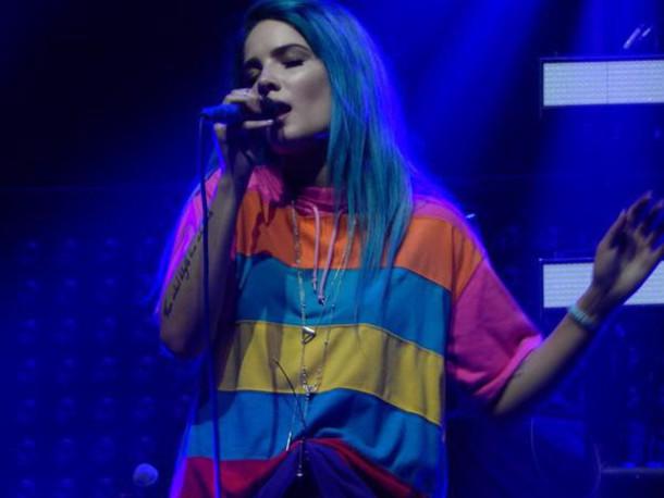 t-shirt halsey colorful neon yellow light blue blue orange pink cool indie grunge music singer red light pink grunge t-shirt style multicolor