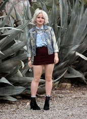 broke hell,blogger,denim jacket,velvet skirt,mini skirt,blue shirt,skirt,top,jacket