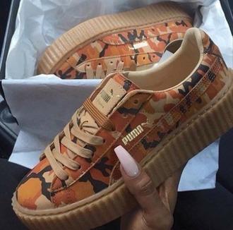 shoes girl girly girly wishlist puma puma sneakers camouflage orange cute tumblr trendy puma creepers creepers