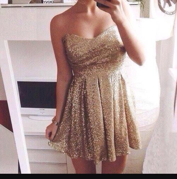 gold gold sequins dress cute dress cute short dress