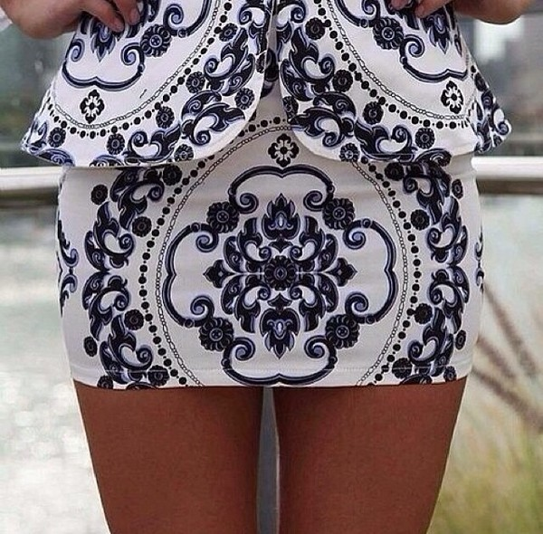 skirt blue skirt white skirt print beautiful