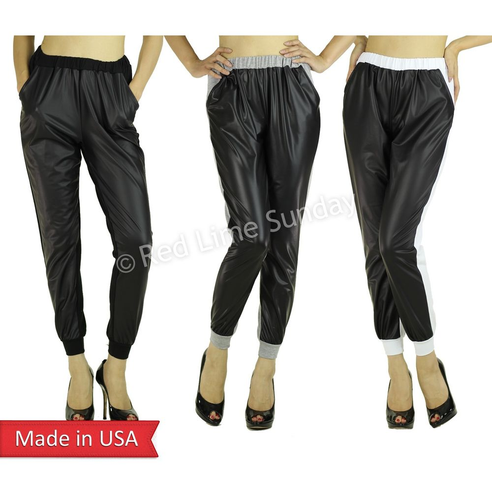 Duo Fabric Faux Leather Front Panel Slant Pockets Jogger Jogging Pants Bottoms