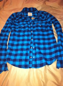 Women's Juniors Snap Closure Blue Plaid Shirt 100 Cotton Medium | eBay