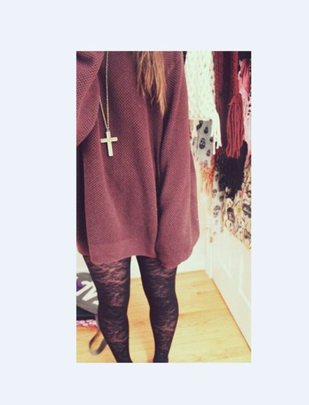 sweater cross necklace cute long winter outfits tights