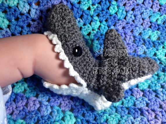 Baby/Infant Crocheted Shark Slipper Socks by stacie71 on Etsy