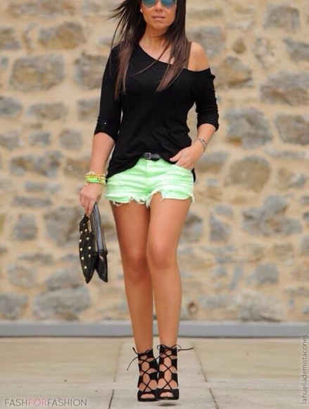 shoes shorts green pastel shirt