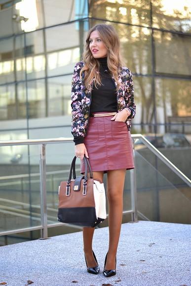 floral mi aventura con la moda blogger jewels bag Belt faux leather bomber jacket