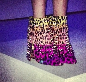 shoes studs leopard print multicolor booties