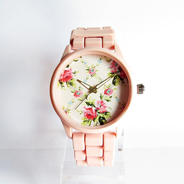 jewels floral watch pretty in pink 80s style style handmade etsy watch watch