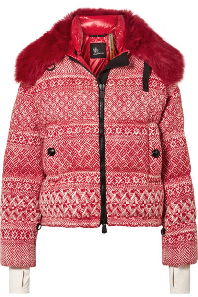 Moncler Genius - 3 Grenoble Faux Shearling-trimmed Wool-blend Tweed Down Jacket - Red