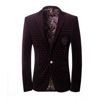 jacket justnologo.com embroidered jacket black blazer one-button menswear polka dots slim fit long sleeves