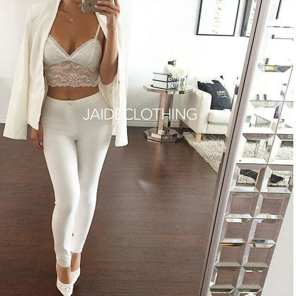 blouse shoes classy jeans all white bra jacket