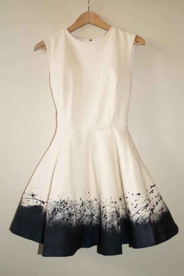 dress black white paint splatter