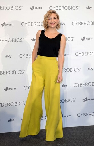 pants top yellow tank top kate hudson wide-leg pants yellow pants