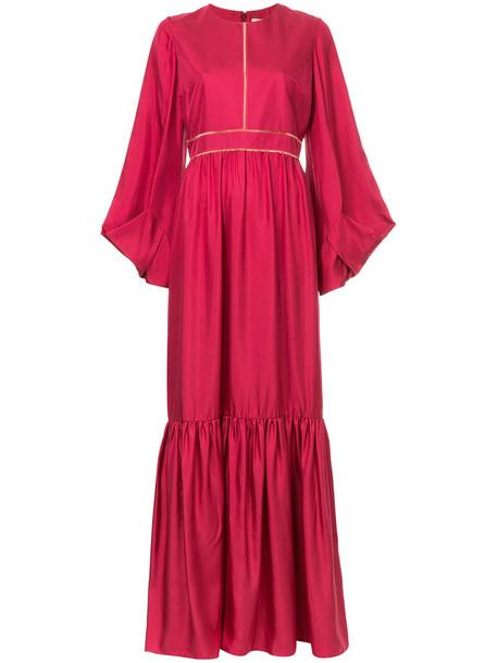 Roksanda dress long dress pleated long women silk red