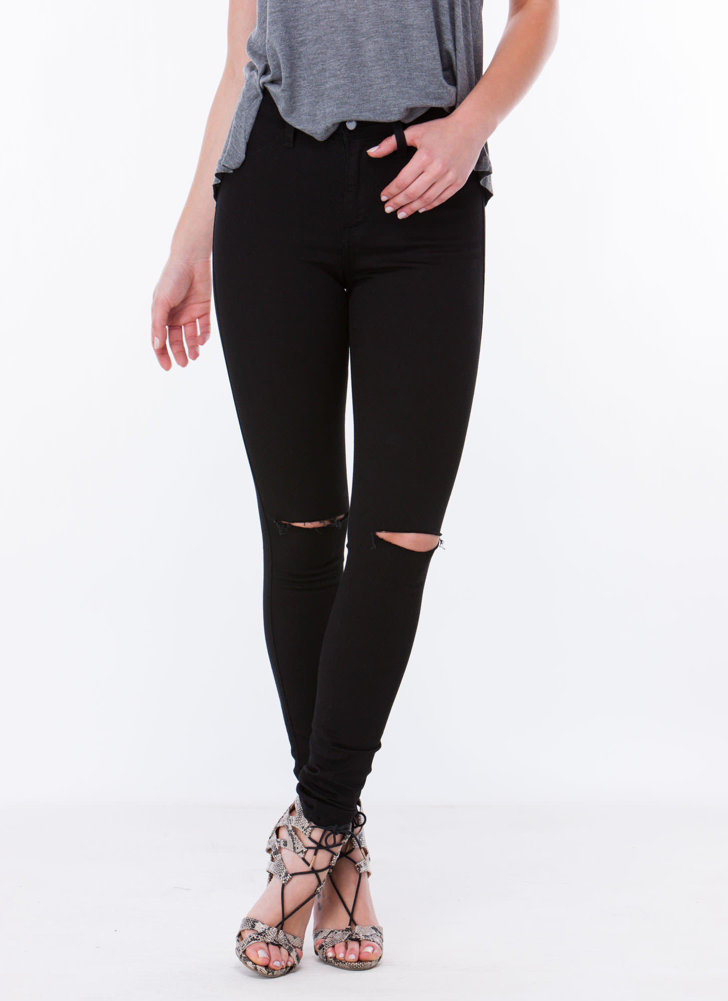 Pretty High-Waisted Skinny Jeans BLACK - GoJane.com