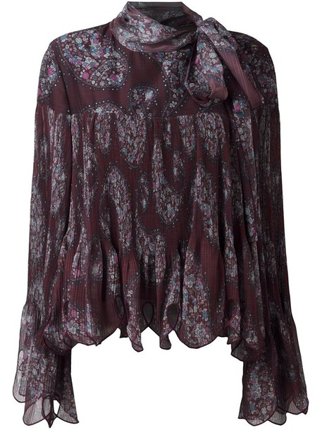 blouse women scalloped cotton print brown paisley top