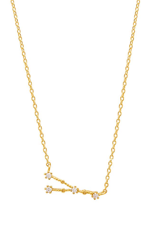 Wanderlust + Co Cancer Zodiac Necklace in gold / metallic