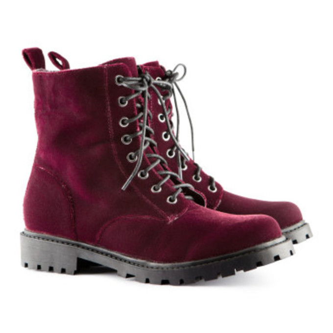 H&m Shoes Boots Velvet Red