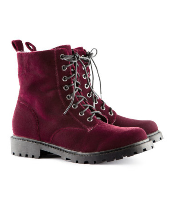 shoes velvet red velvet boots combat boots h&m grunge shoes burgundy boots