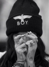 hat,boy,black and white,beanie,black,boy london,black beanie,black and gold,boy hat