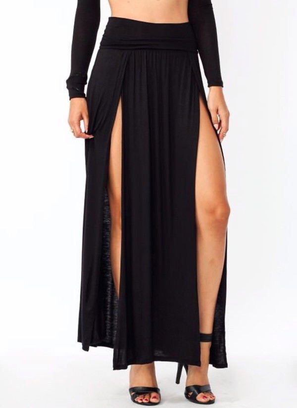skirt double slit skirt maxi skirt maxi maxi skirt pretty cute style fashion