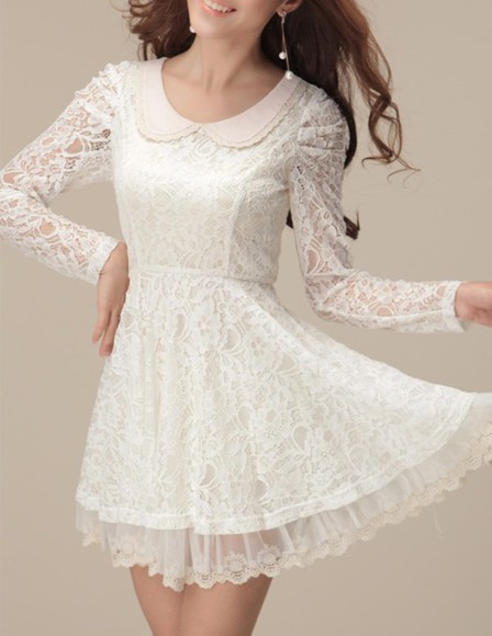 peter pan collar dress white cute cute dress white dress collared dress short dress