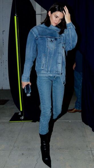 jacket jeans denim jacket denim boots kendall jenner model off-duty kardashians fall outfits