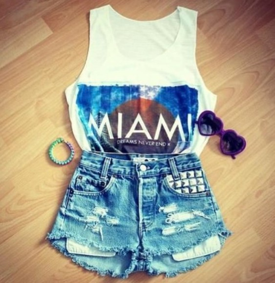 tank top shirt miami t-shirt top tee shorts