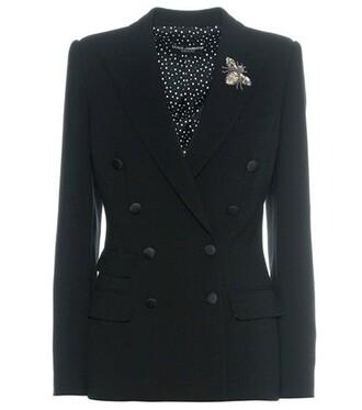jacket wool jacket embellished wool black