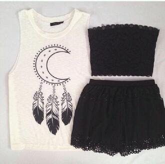 cardigan black skirt black crop top moon shirt skirt shorts shirt www ebionylace.storenvy