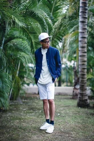 closet freaks blogger dope hipster menswear blue jacket mens shorts white shorts